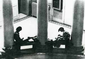 students at work in lobby