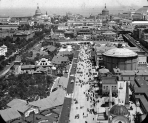 View of the Midway Plaisance, looking East from the Ferris Wheel